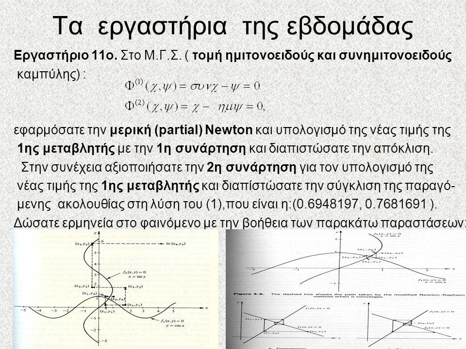 Τα εργαστήρια της εβδομάδας Εργαστήριο 11ο. Στο Μ.Γ.Σ. ( τομή ημιτονοειδούς και συνημιτονοειδούς καμπύλης) : εφαρμόσατε την μερική (partial) Newton κα