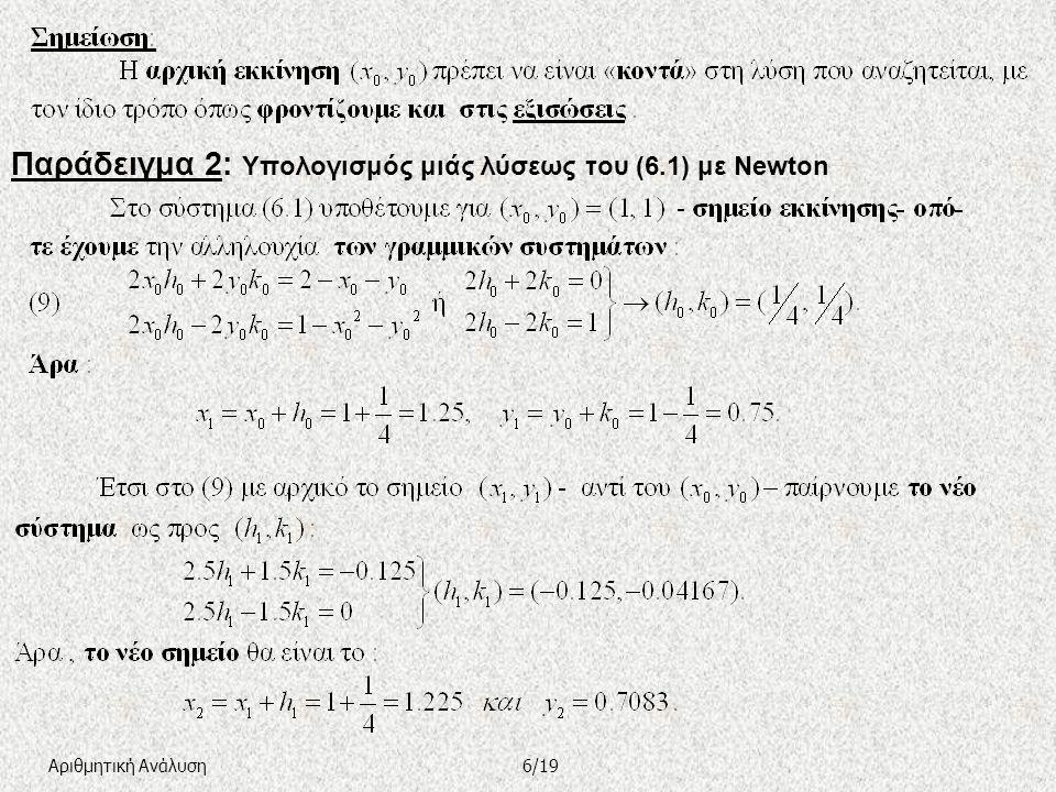 (γ) Η μέθοδος της Steepest Descent ( Ταχύτερης καθόδου –Τ.Κ.) 7/19Αριθμητική Ανάλυση