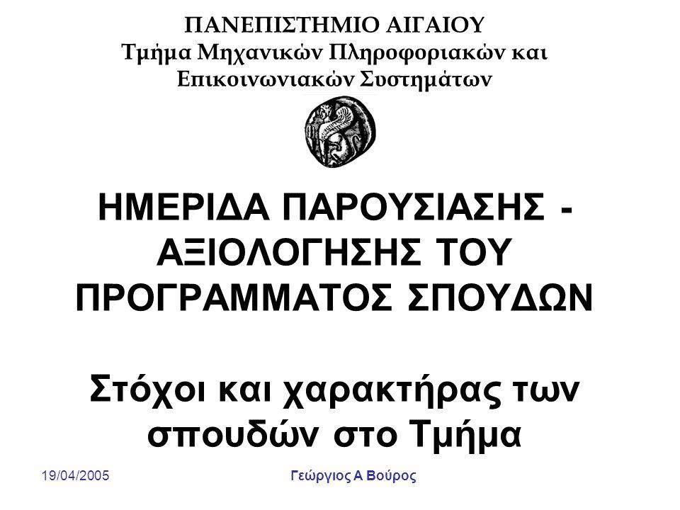 19/04/2005Γεώργιος Α Βούρος Στόχοι της ημερίδας Ενημέρωση για τη φιλοσοφία σπουδών και τη διάρθρωση του οδηγού σπουδών του Τμήματος Παρουσίαση των αποτελεσμάτων της εσωτερικής αποτίμησης του εκπαιδευτικού και ερευνητικού έργου του Τμήματος Αναγνώριση και καταγραφή προβλημάτων, απειλών και μελλοντικών ευκαιριών Καταγραφή συγκεκριμένων προτάσεων τροποποίησης του οδηγού σπουδών