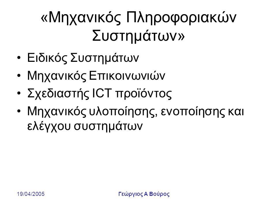19/04/2005Γεώργιος Α Βούρος «Μηχανικός Πληροφοριακών Συστημάτων» Ειδικός Συστημάτων Μηχανικός Επικοινωνιών Σχεδιαστής ICT προϊόντος Μηχανικός υλοποίησης, ενοποίησης και ελέγχου συστημάτων