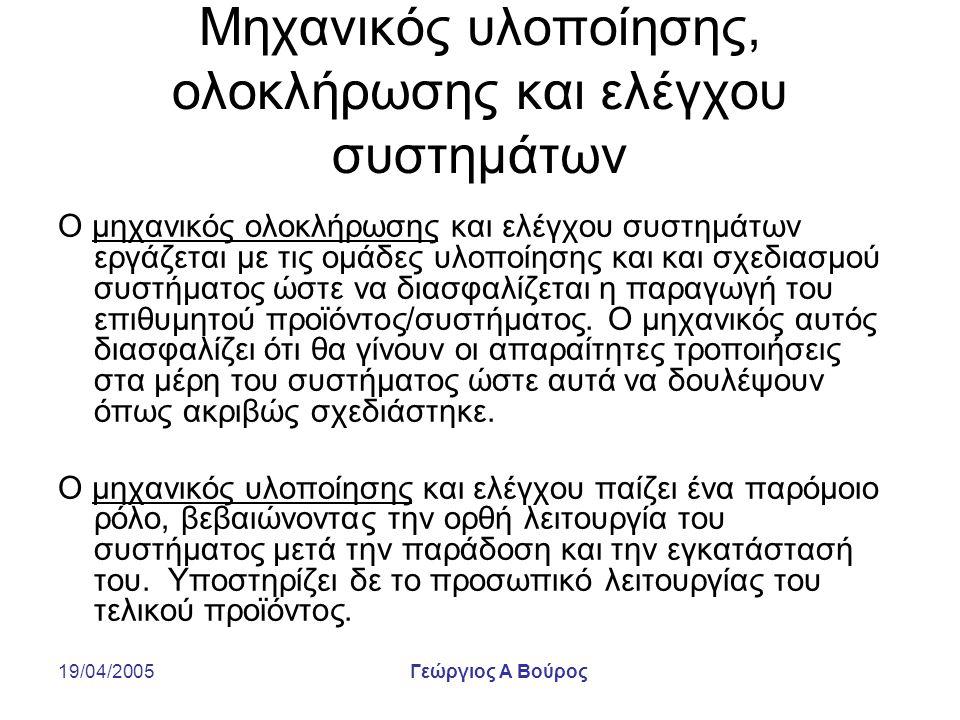 19/04/2005Γεώργιος Α Βούρος Μηχανικός υλοποίησης, ολοκλήρωσης και ελέγχου συστημάτων Ο μηχανικός ολοκλήρωσης και ελέγχου συστημάτων εργάζεται με τις ο