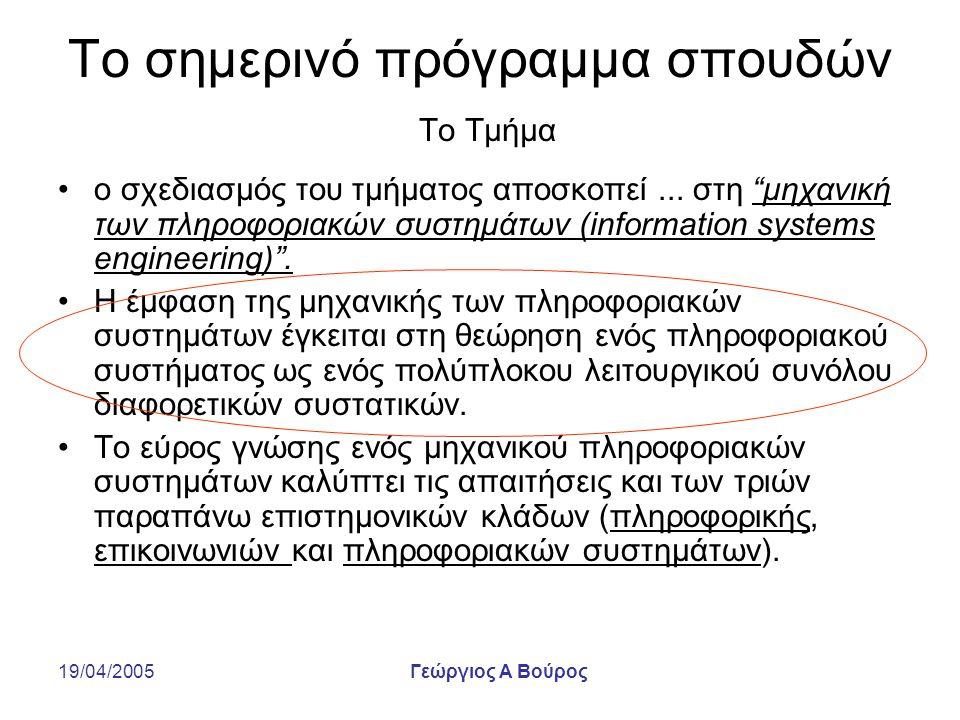 """19/04/2005Γεώργιος Α Βούρος Το σημερινό πρόγραμμα σπουδών Το Τμήμα ο σχεδιασμός του τμήματος αποσκοπεί... στη """"μηχανική των πληροφοριακών συστημάτων ("""