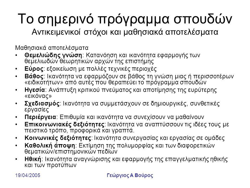 19/04/2005Γεώργιος Α Βούρος Το σημερινό πρόγραμμα σπουδών Αντικειμενικοί στόχοι και μαθησιακά αποτελέσματα Μαθησιακά αποτελέσματα Θεμελιώδης γνώση: Κα