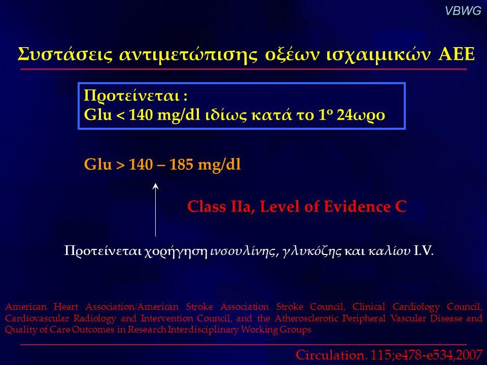 Συστάσεις αντιμετώπισης οξέων ισχαιμικών ΑΕΕ American Heart Association/American Stroke Association Stroke Council, Clinical Cardiology Council, Cardi