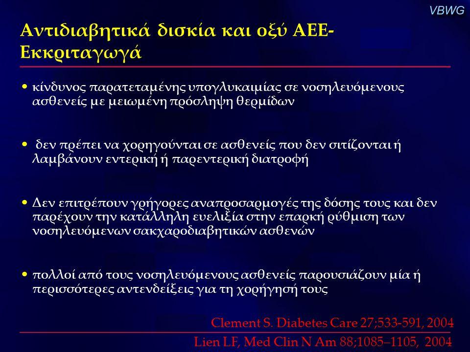κίνδυνος παρατεταμένης υπογλυκαιμίας σε νοσηλευόμενους ασθενείς με μειωμένη πρόσληψη θερμίδων δεν πρέπει να χορηγούνται σε ασθενείς που δεν σιτίζονται