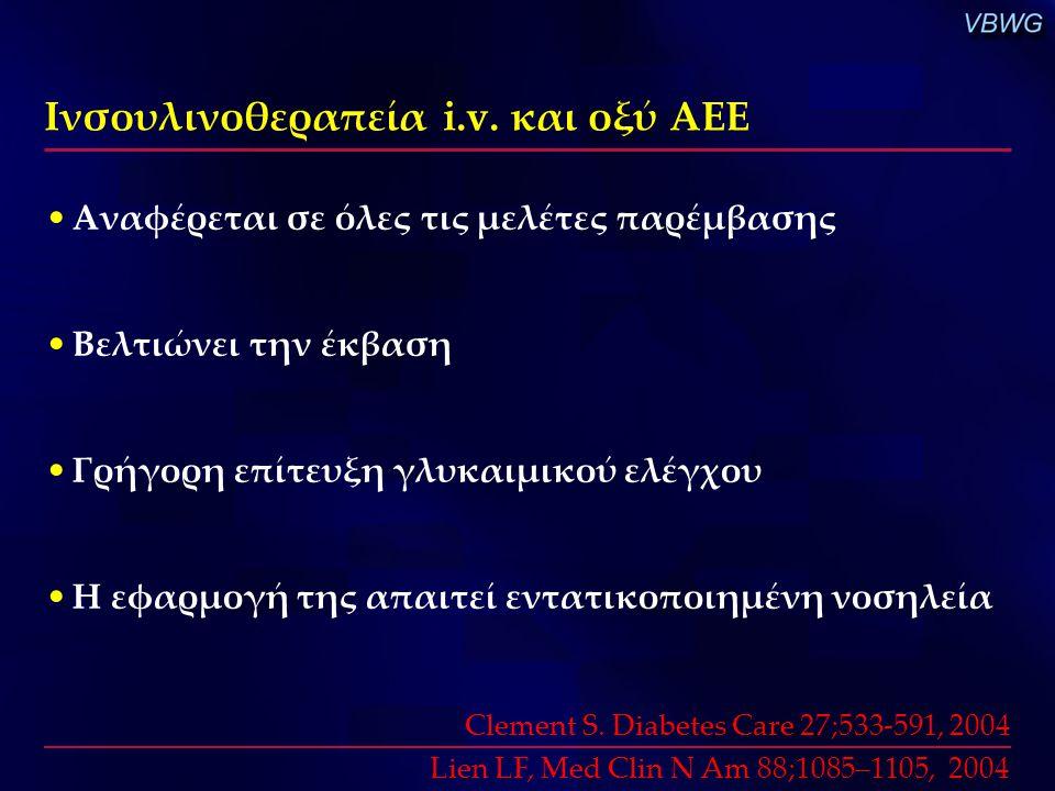 Ινσουλινοθεραπεία i.v. και οξύ ΑΕΕ Αναφέρεται σε όλες τις μελέτες παρέμβασης Βελτιώνει την έκβαση Γρήγορη επίτευξη γλυκαιμικού ελέγχου Η εφαρμογή της