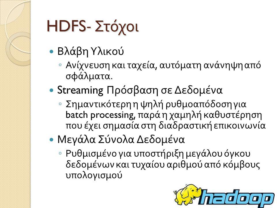 HDFS- Στόχοι Βλάβη Υλικού ◦ Ανίχνευση και ταχεία, αυτόματη ανάνηψη από σφάλματα.