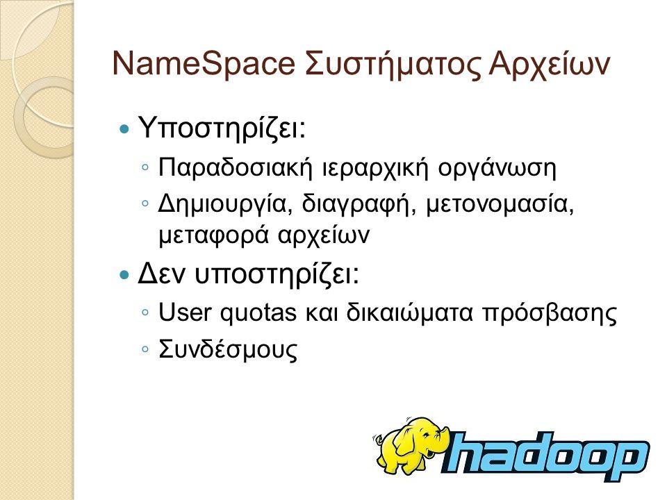 NameSpace Συστήματος Αρχείων Υποστηρίζει: ◦ Παραδοσιακή ιεραρχική οργάνωση ◦ Δημιουργία, διαγραφή, μετονομασία, μεταφορά αρχείων Δεν υποστηρίζει: ◦ User quotas και δικαιώματα πρόσβασης ◦ Συνδέσμους
