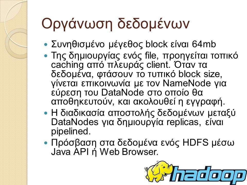 Οργάνωση δεδομένων Συνηθισμένο μέγεθος block είναι 64mb Της δημιουργίας ενός file, προηγείται τοπικό caching από πλευράς client.