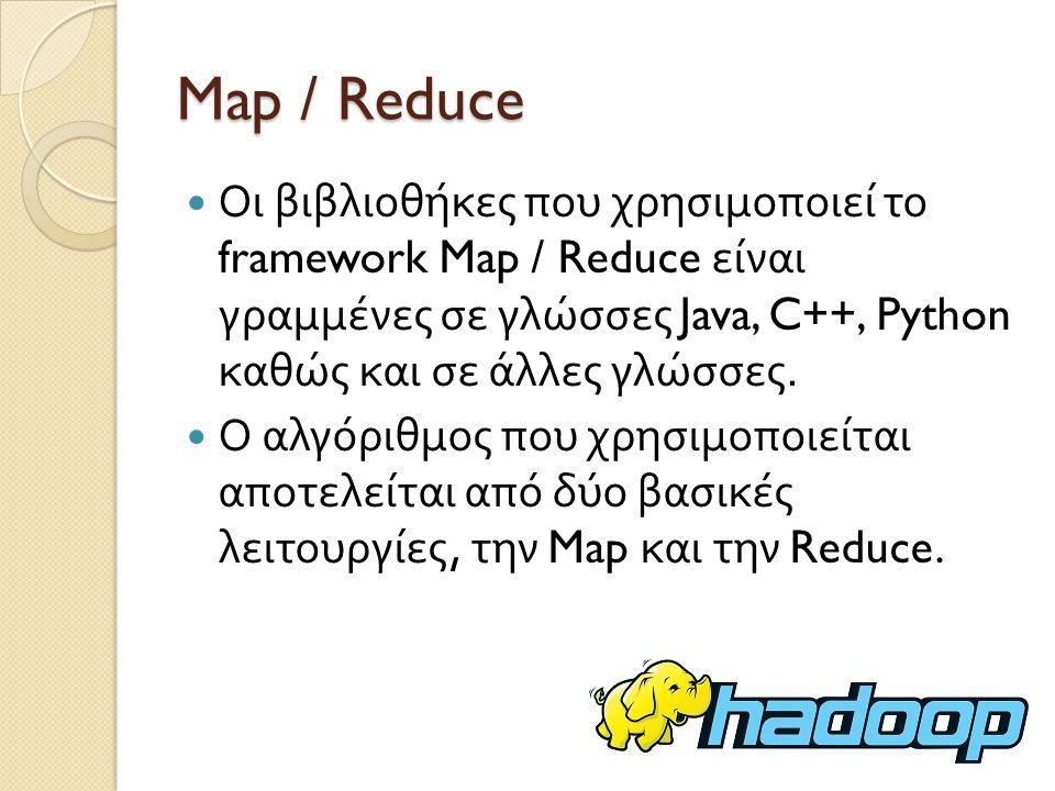 Map / Reduce Οι βιβλιοθήκες που χρησιμοποιεί το framework Map / Reduce είναι γραμμένες σε γλώσσες Java, C++, Python καθώς και σε άλλες γλώσσες.