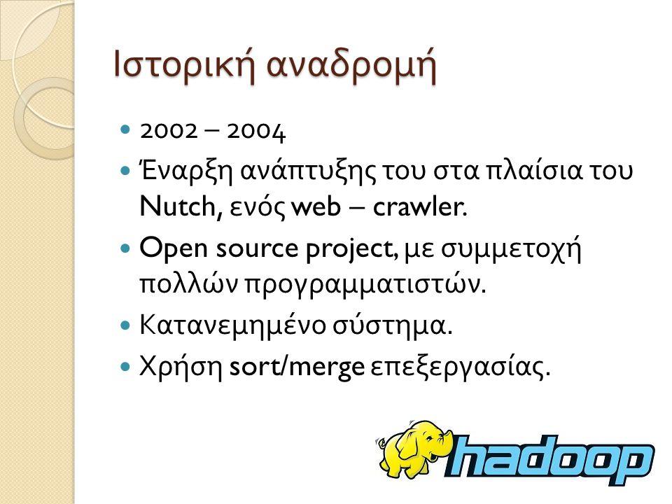Ιστορική αναδρομή 2004- 2006 Δημοσίευση άρθρων σχετικά με Google File System και τεχνικής MapReduce, με άμεση αναφορά στα προβλήματα του Nutch.