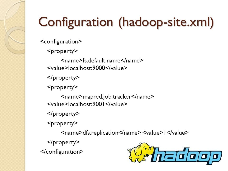 Configuration (hadoop-site.xml) fs.default.name localhost:9000 mapred.job.tracker localhost:9001 dfs.replication 1