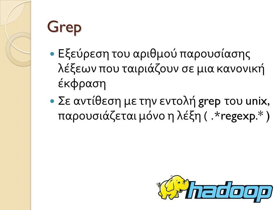 Grep Εξεύρεση του αριθμού παρουσίασης λέξεων που ταιριάζουν σε μια κανονική έκφραση Σε αντίθεση με την εντολή grep του unix, παρουσιάζεται μόνο η λέξη (.*regexp.* )