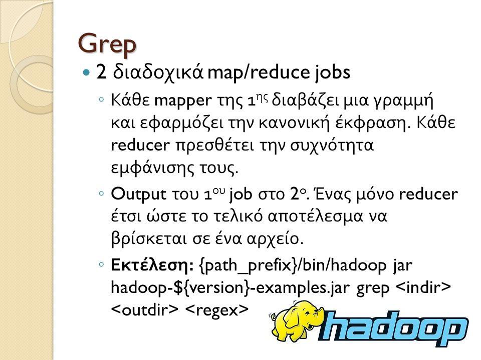 Grep 2 διαδοχικά map/reduce jobs ◦ Κάθε mapper της 1 ης διαβάζει μια γραμμή και εφαρμόζει την κανονική έκφραση.
