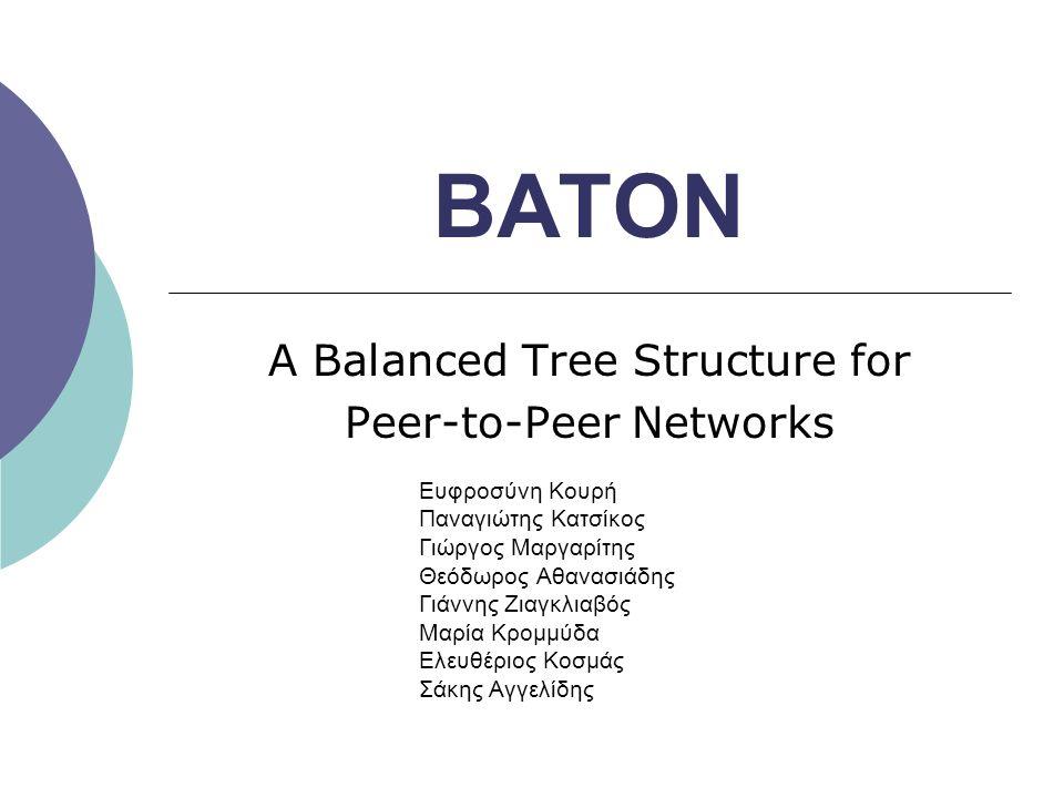 Δομή του BATON  Το overlay δίκτυο του ΒATON βασίζεται σε ένα δυαδικό ισορροπημένο δέντρο  Ένα δέντρο είναι ισορροπημένο ανν για κάθε κόμβο του, το ύψος των δύο υποδέντρων του κόμβου διαφέρει κατά ένα το πολύ  Κάθε κόμβος ανήκει σε ένα επίπεδο L και έχει έναν αριθμό (από 1 έως 2 L )  Στους κόμβους κάθε επιπέδου δ ίνονται αριθμοί σαν να υπήρχαν όλοι οι κόμβοι (τέλειο δέντρο)  Κάθε κόμβος αντιστοιχεί σε ένα peer του συστήματος