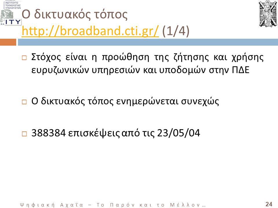 24 Ψηφιακή Αχαΐα – Το Παρόν και το Μέλλον … Ο δικτυακός τόπος http://broadband.cti.gr/ (1/4) http://broadband.cti.gr/  Στόχος είναι η προώθηση της ζήτησης και χρήσης ευρυζωνικών υπηρεσιών και υποδομών στην ΠΔΕ  Ο δικτυακός τόπος ενημερώνεται συνεχώς  388384 επισκέψεις από τις 23/05/04