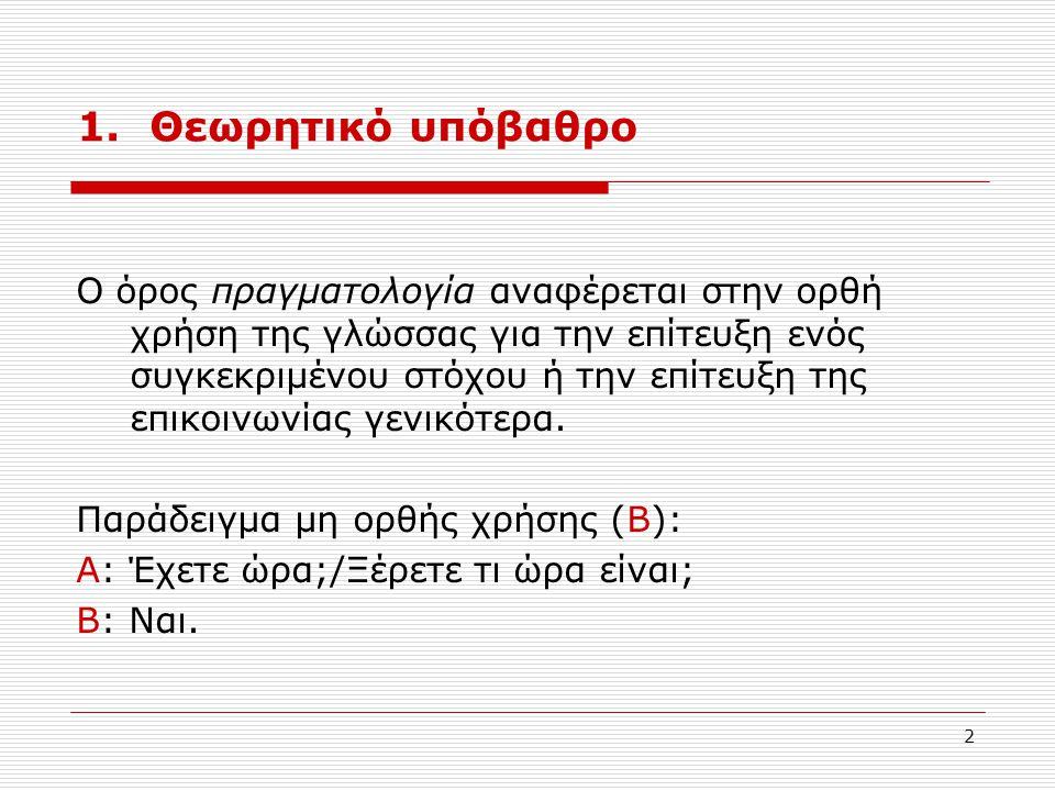 2 1. Θεωρητικό υπόβαθρο Ο όρος πραγματολογία αναφέρεται στην ορθή χρήση της γλώσσας για την επίτευξη ενός συγκεκριμένου στόχου ή την επίτευξη της επικ