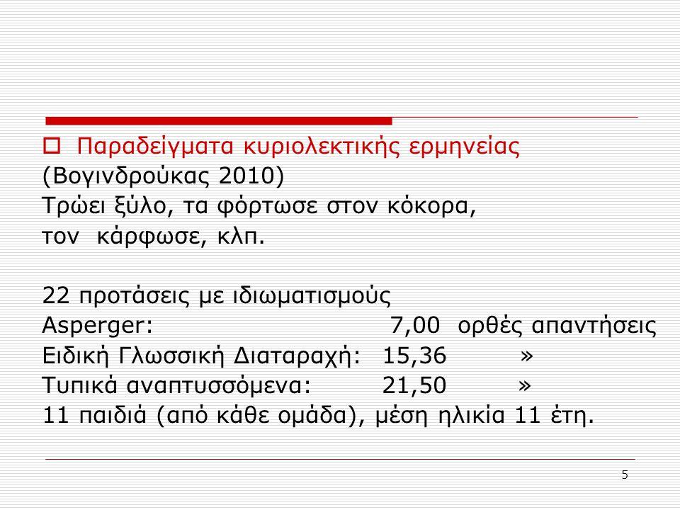 6  Στην Ελληνική δεν υπάρχουν πολλές μελέτες των πραγματολογικών ικανοτήτων στο φάσμα του αυτισμού.