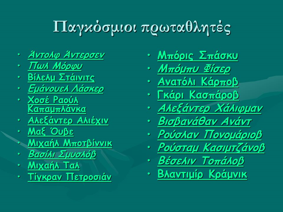 Παγκόσμιοι πρωταθλητές Άντολφ ΆντερσενΆντολφ ΆντερσενΆντολφ ΆντερσενΆντολφ Άντερσεν Πωλ ΜόρφυΠωλ ΜόρφυΠωλ ΜόρφυΠωλ Μόρφυ Βίλελμ ΣτάινιτςΒίλελμ ΣτάινιτςΒίλελμ ΣτάινιτςΒίλελμ Στάινιτς Εμάνουελ ΛάσκερΕμάνουελ ΛάσκερΕμάνουελ ΛάσκερΕμάνουελ Λάσκερ Χοσέ Ραούλ ΚαπαμπλάνκαΧοσέ Ραούλ ΚαπαμπλάνκαΧοσέ Ραούλ ΚαπαμπλάνκαΧοσέ Ραούλ Καπαμπλάνκα Αλεξάντερ ΑλιέχινΑλεξάντερ ΑλιέχινΑλεξάντερ ΑλιέχινΑλεξάντερ Αλιέχιν Μαξ ΌυβεΜαξ ΌυβεΜαξ ΌυβεΜαξ Όυβε Μιχαήλ ΜποτβίννικΜιχαήλ ΜποτβίννικΜιχαήλ ΜποτβίννικΜιχαήλ Μποτβίννικ Βασίλι ΣμυσλόβΒασίλι ΣμυσλόβΒασίλι ΣμυσλόβΒασίλι Σμυσλόβ Μιχαήλ ΤαλΜιχαήλ ΤαλΜιχαήλ ΤαλΜιχαήλ Ταλ Τίγκραν ΠετροσιάνΤίγκραν ΠετροσιάνΤίγκραν ΠετροσιάνΤίγκραν Πετροσιάν Μπόρις ΣπάσκυΜπόρις Σπάσκυ Μπόμπυ ΦίσερΜπόμπυ Φίσερ Ανατόλι ΚάρποβΑνατόλι Κάρποβ Γκάρι ΚασπάροβΓκάρι Κασπάροβ Αλεξάντερ ΧάλιφμανΑλεξάντερ Χάλιφμαν Βισβανάθαν ΑνάντΒισβανάθαν Ανάντ Ρούσλαν ΠονομάριοβΡούσλαν Πονομάριοβ Ρούσταμ ΚασιμτζάνοβΡούσταμ Κασιμτζάνοβ Βέσελιν ΤοπάλοβΒέσελιν Τοπάλοβ Βλαντιμίρ ΚράμνικΒλαντιμίρ Κράμνικ