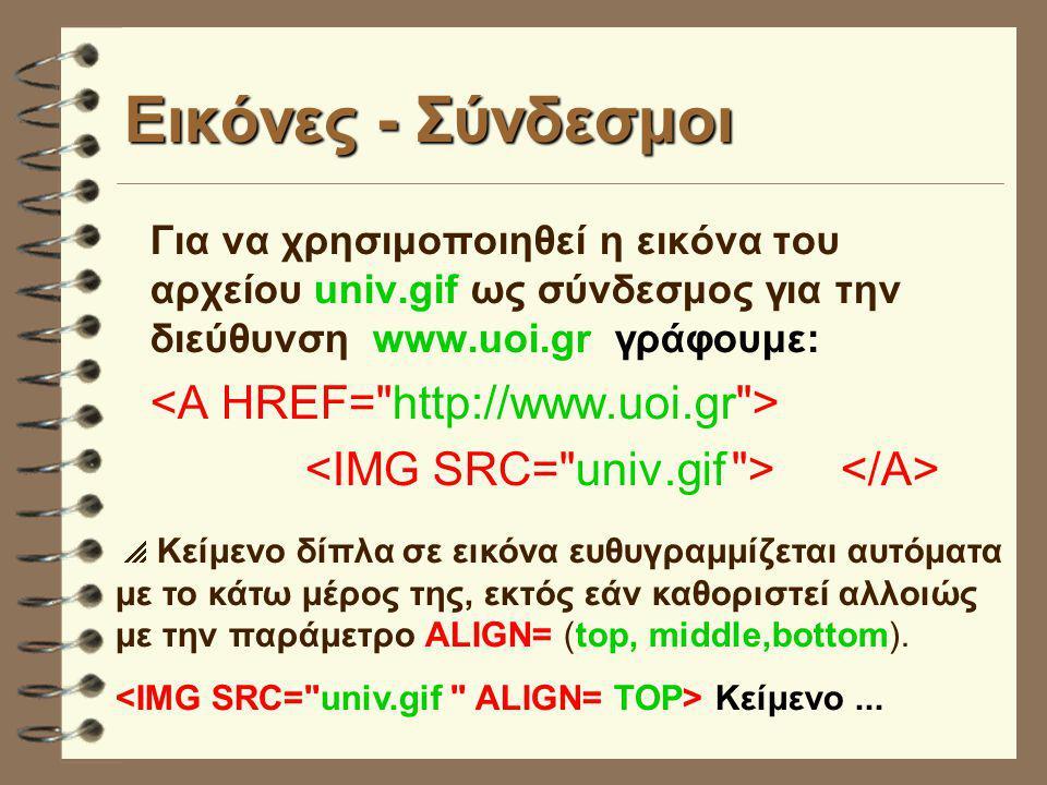 Εικόνες - Σύνδεσμοι Για να χρησιμοποιηθεί η εικόνα του αρχείου univ.gif ως σύνδεσμος για την διεύθυνση www.uoi.gr γράφουμε:  Κείμενο δίπλα σε εικόνα