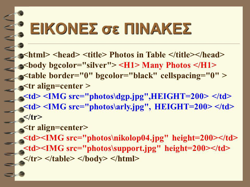 EΙΚΟΝΕΣ σε ΠΙΝΑΚΕΣ Photos in Table Many Photos