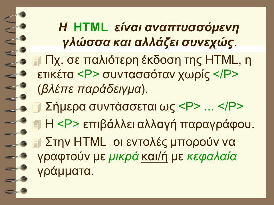 Η HTML είναι αναπτυσσόμενη γλώσσα και αλλάζει συνεχώς.  Πχ. σε παλιότερη έκδοση της HTML, η ετικέτα συντασσόταν χωρίς (βλέπε παράδειγμα).  Σήμερα συ