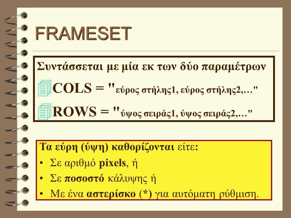 FRAMESET Συντάσσεται με μία εκ των δύο παραμέτρων  COLS = εύρος στήλης1, εύρος στήλης2,…  ROWS = ύψος σειράς1, ύψος σειράς2,… Τα εύρη (ύψη) καθορίζονται είτε: Σε αριθμό pixels, ή Σε ποσοστό κάλυψης ή Με ένα αστερίσκο (*) για αυτόματη ρύθμιση.