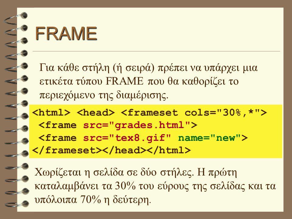 FRAME Για κάθε στήλη (ή σειρά) πρέπει να υπάρχει μια ετικέτα τύπου FRAME που θα καθορίζει το περιεχόμενο της διαμέρισης. Χωρίζεται η σελίδα σε δύο στή