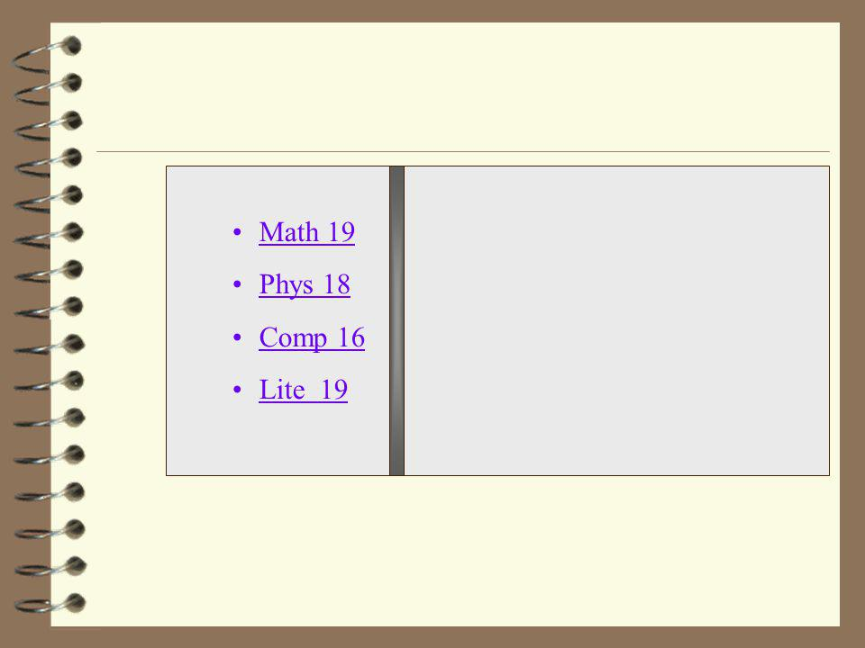 Math 19 Phys 18 Comp 16 Lite 19