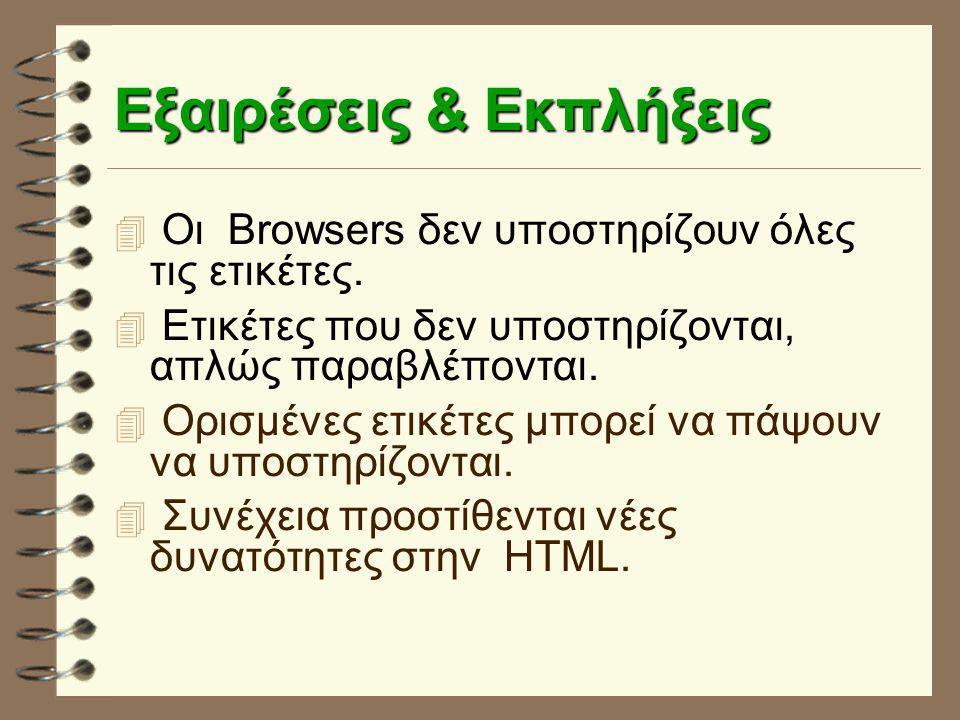 Eξαιρέσεις & Eκπλήξεις  Οι Browsers δεν υποστηρίζουν όλες τις ετικέτες.  Ετικέτες που δεν υποστηρίζονται, απλώς παραβλέπονται.  Ορισμένες ετικέτες