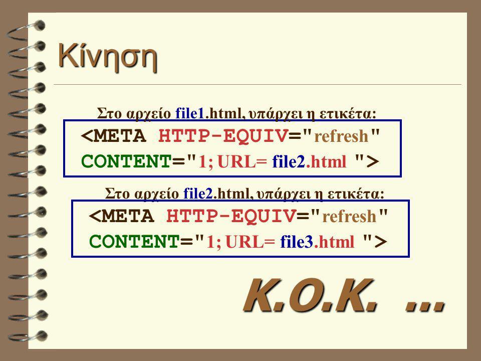 Κίνηση Στο αρχείο file1.html, υπάρχει η ετικέτα: Στο αρχείο file2.html, υπάρχει η ετικέτα: Κ.Ο.Κ....