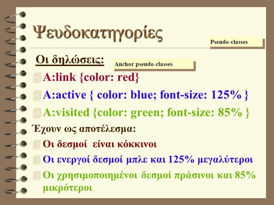 Ψευδοκατηγορίες Οι δηλώσεις:  A:link {color: red}  A:active { color: blue; font-size: 125% }  A:visited {color: green; font-size: 85% } Έχουν ως αποτέλεσμα:  Οι δεσμοί είναι κόκκινοι  Οι ενεργοί δεσμοί μπλε και 125% μεγαλύτεροι  Οι χρησιμοποιημένοι δεσμοί πράσινοι και 85% μικρότεροι Pseudo-classes Anchor pseudo-classes