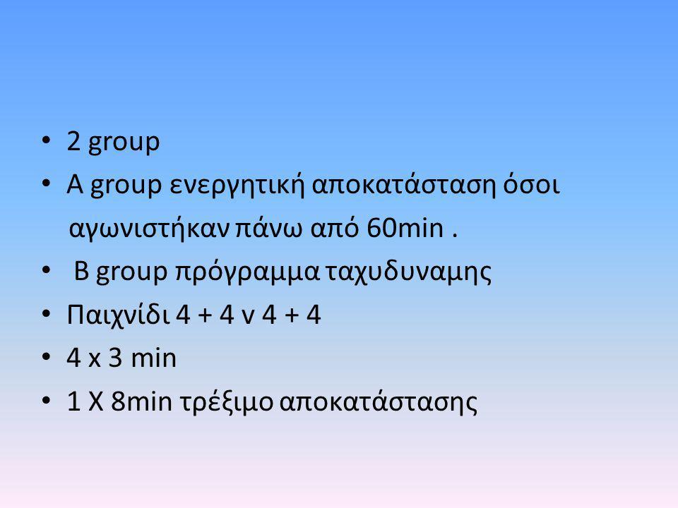 2 group A group ενεργητική αποκατάσταση όσοι αγωνιστήκαν πάνω από 60min. Β group πρόγραμμα ταχυδυναμης Παιχνίδι 4 + 4 v 4 + 4 4 x 3 min 1 X 8min τρέξι