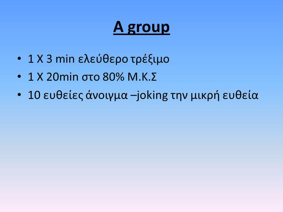 A group 1 X 3 min ελεύθερο τρέξιμο 1 Χ 20min στο 80% Μ.Κ.Σ 10 ευθείες άνοιγμα –joking την μικρή ευθεία
