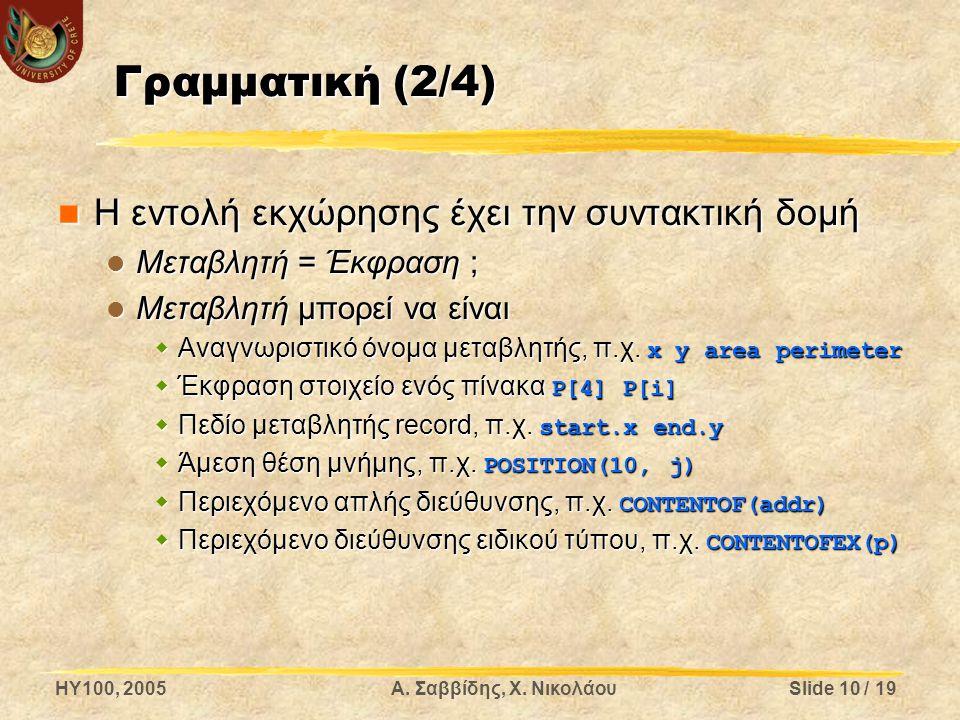 HY100, 2005Α. Σαββίδης, Χ. ΝικολάουSlide 10 / 19 Γραμματική (2/4) Η εντολή εκχώρησης έχει την συντακτική δομή Η εντολή εκχώρησης έχει την συντακτική δ