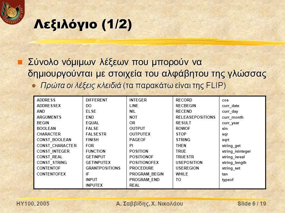 HY100, 2005Α. Σαββίδης, Χ. ΝικολάουSlide 6 / 19 Λεξιλόγιο (1/2) Σύνολο νόμιμων λέξεων που μπορούν να δημιουργούνται με στοιχεία του αλφάβητου της γλώσ
