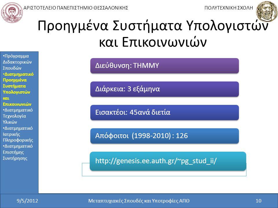 ΑΡΙΣΤΟΤΕΛΕΙΟ ΠΑΝΕΠΙΣΤΗΜΙΟ ΘΕΣΣΑΛΟΝΙΚΗΣ ΠΟΛΥΤΕΧΝΙΚΗ ΣΧΟΛΗ Προηγμένα Συστήματα Υπολογιστών και Επικοινωνιών Διεύθυνση: ΤΗΜΜΥΔιάρκεια: 3 εξάμηναΕισακτέοι: 45ανά διετίαΑπόφοιτοι (1998-2010) : 126 http://genesis.ee.auth.gr/~pg_stud_ii/ 9/5/2012Μεταπτυχιακές Σπουδές και Υποτροφίες ΑΠΘ10 Πρόγραμμα Διδακτορικών Σπουδών Διατμηματικό Προηγμένα Συστήματα Υπολογιστών και Επικοινωνιών Διατμηματικό Τεχνολογία Υλικών Διατμηματικό Ιατρικής Πληροφορικής Διατμηματικό Επιστήμης Συντήρησης
