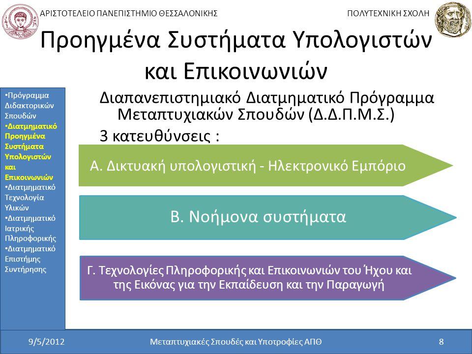 ΑΡΙΣΤΟΤΕΛΕΙΟ ΠΑΝΕΠΙΣΤΗΜΙΟ ΘΕΣΣΑΛΟΝΙΚΗΣ ΠΟΛΥΤΕΧΝΙΚΗ ΣΧΟΛΗ Προηγμένα Συστήματα Υπολογιστών και Επικοινωνιών Διαπανεπιστημιακό Διατμηματικό Πρόγραμμα Μεταπτυχιακών Σπουδών (Δ.Δ.Π.Μ.Σ.) 3 κατευθύνσεις : 9/5/2012Μεταπτυχιακές Σπουδές και Υποτροφίες ΑΠΘ8 Πρόγραμμα Διδακτορικών Σπουδών Διατμηματικό Προηγμένα Συστήματα Υπολογιστών και Επικοινωνιών Διατμηματικό Τεχνολογία Υλικών Διατμηματικό Ιατρικής Πληροφορικής Διατμηματικό Επιστήμης Συντήρησης Α.