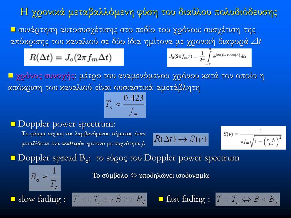 Η χρονικά μεταβαλλόμενη φύση του διαύλου πολυδιόδευσης συνάρτηση αυτοσυσχέτισης στο πεδίο του χρόνου: συσχέτιση της απόκρισης του καναλιού σε δύο ίδια