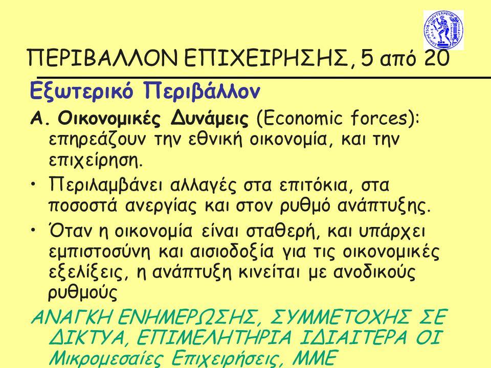ΠΕΡΙΒΑΛΛΟΝ ΕΠΙΧΕΙΡΗΣΗΣ, 5 από 20 Εξωτερικό Περιβάλλον Α. Οικονομικές Δυνάμεις (Economic forces): επηρεάζουν την εθνική οικονομία, και την επιχείρηση.