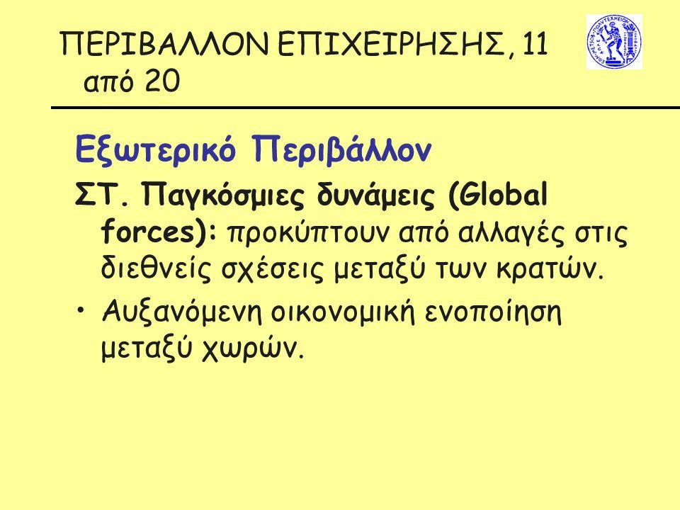 ΠΕΡΙΒΑΛΛΟΝ ΕΠΙΧΕΙΡΗΣΗΣ, 11 από 20 Εξωτερικό Περιβάλλον ΣΤ. Παγκόσμιες δυνάμεις (Global forces): προκύπτουν από αλλαγές στις διεθνείς σχέσεις μεταξύ τω