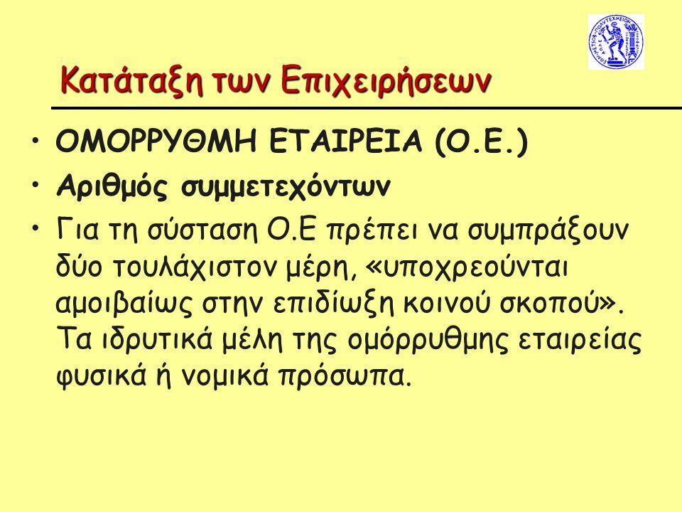 Κατάταξη των Επιχειρήσεων ΟΜΟΡΡΥΘΜΗ ΕΤΑΙΡΕΙΑ (Ο.Ε.) Αριθμός συμμετεχόντων Για τη σύσταση Ο.Ε πρέπει να συμπράξουν δύο τουλάχιστον μέρη, «υποχρεούνται