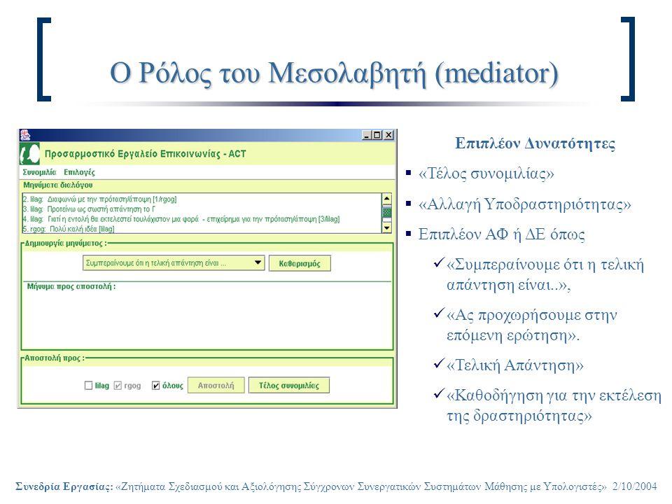 Συνεδρία Εργασίας: «Ζητήματα Σχεδιασμού και Αξιολόγησης Σύγχρονων Συνεργατικών Συστημάτων Μάθησης με Υπολογιστές» 2/10/2004 Ο Ρόλος του Μεσολαβητή (mediator) Επιπλέον Δυνατότητες  «Τέλος συνομιλίας»  «Αλλαγή Υποδραστηριότητας»  Επιπλέον ΑΦ ή ΔΕ όπως «Συμπεραίνουμε ότι η τελική απάντηση είναι..», «Ας προχωρήσουμε στην επόμενη ερώτηση».
