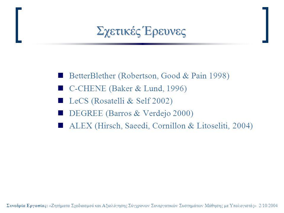 Συνεδρία Εργασίας: «Ζητήματα Σχεδιασμού και Αξιολόγησης Σύγχρονων Συνεργατικών Συστημάτων Μάθησης με Υπολογιστές» 2/10/2004 Σχετικές Έρευνες BetterBlether (Robertson, Good & Pain 1998) C-CHENE (Baker & Lund, 1996) LeCS (Rosatelli & Self 2002) DEGREE (Barros & Verdejo 2000) ALEX (Hirsch, Saeedi, Cornillon & Litoseliti, 2004)