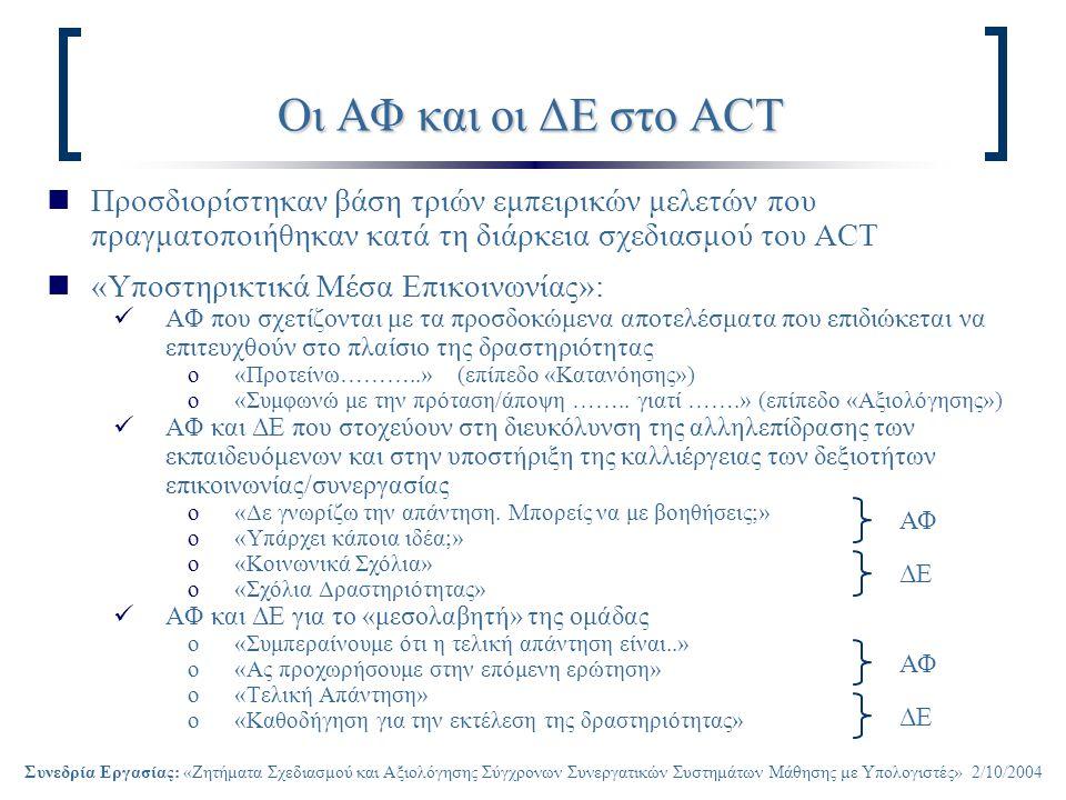 Συνεδρία Εργασίας: «Ζητήματα Σχεδιασμού και Αξιολόγησης Σύγχρονων Συνεργατικών Συστημάτων Μάθησης με Υπολογιστές» 2/10/2004 Οι ΑΦ και οι ΔΕ στο ACT Προσδιορίστηκαν βάση τριών εμπειρικών μελετών που πραγματοποιήθηκαν κατά τη διάρκεια σχεδιασμού του ACT «Υποστηρικτικά Μέσα Επικοινωνίας»: ΑΦ που σχετίζονται με τα προσδοκώμενα αποτελέσματα που επιδιώκεται να επιτευχθούν στο πλαίσιο της δραστηριότητας o«Προτείνω………..» (επίπεδο «Κατανόησης») o«Συμφωνώ με την πρόταση/άποψη ……..