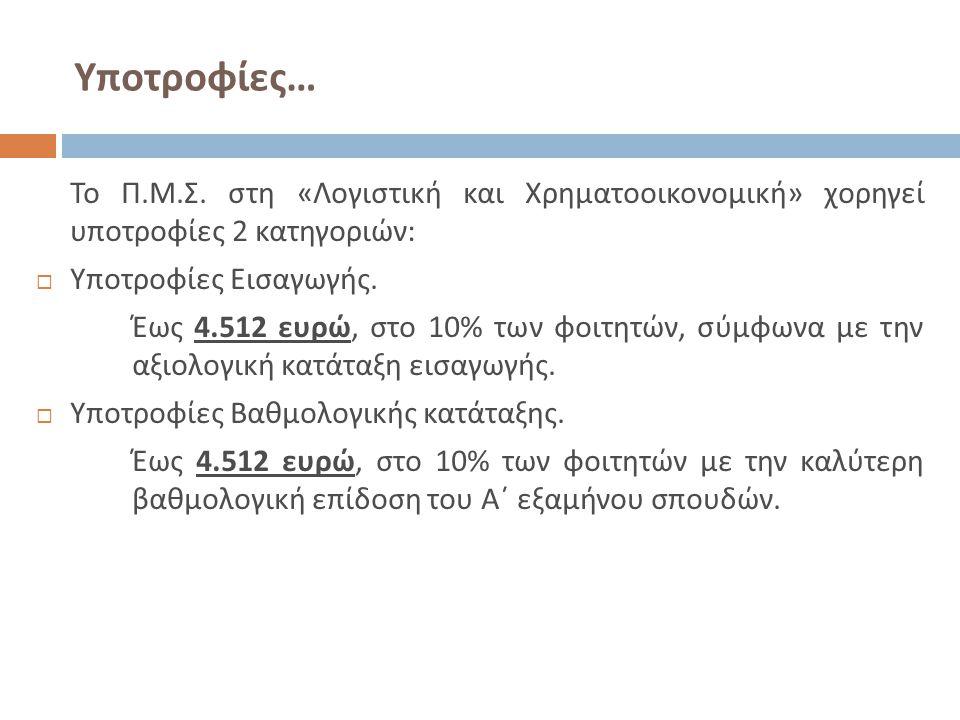 Υποτροφίες … Το Π. Μ. Σ. στη « Λογιστική και Χρηματοοικονομική » χορηγεί υποτροφίες 2 κατηγοριών :  Υποτροφίες Εισαγωγής. Έως 4.512 ευρώ, στο 10% των