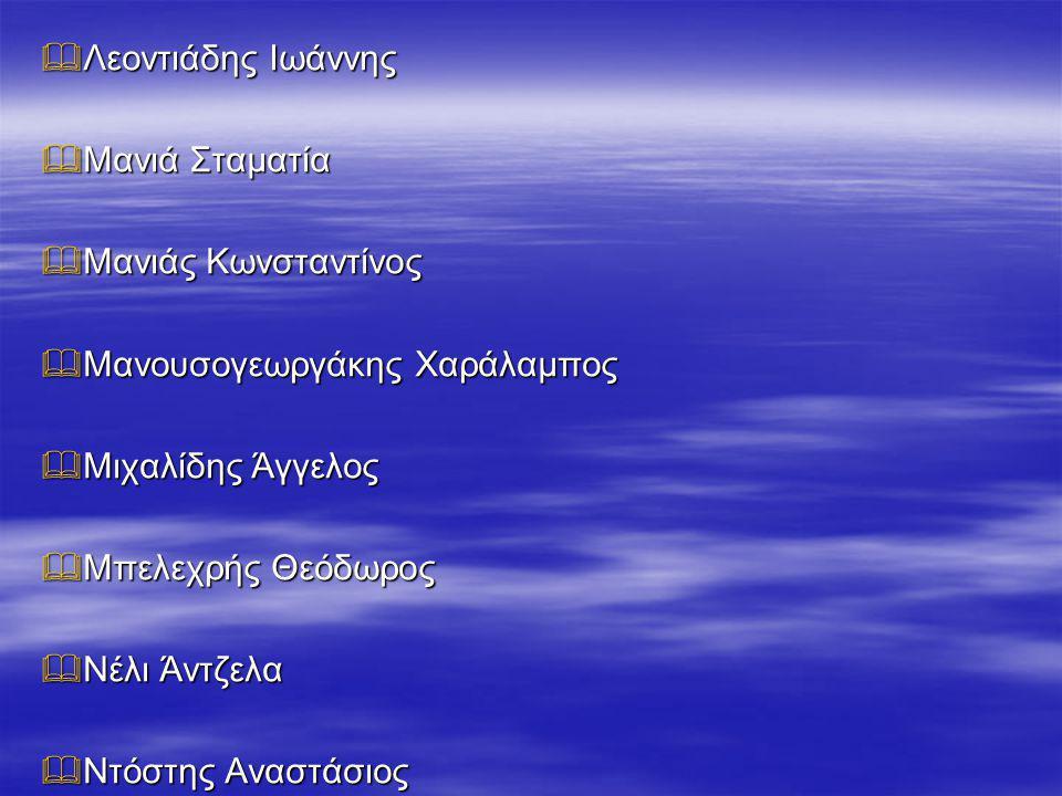  Παληός Φίλιππος-Αλέξανδρος  Πάντου Μαρία-Μαρκέλλα  Παπαδέας Αθανάσιος  Σινγκ Ικτζότ  Σινγκ Παραμγιότ  Σπυροπούλου Μαρίνα  Ταχτσίδης Σταύρος  Τίκος Δημήτριος- Σταύρος (Δασκάλα Δ΄ τάξης: Μοροσίδου Αλεξάνδρα)