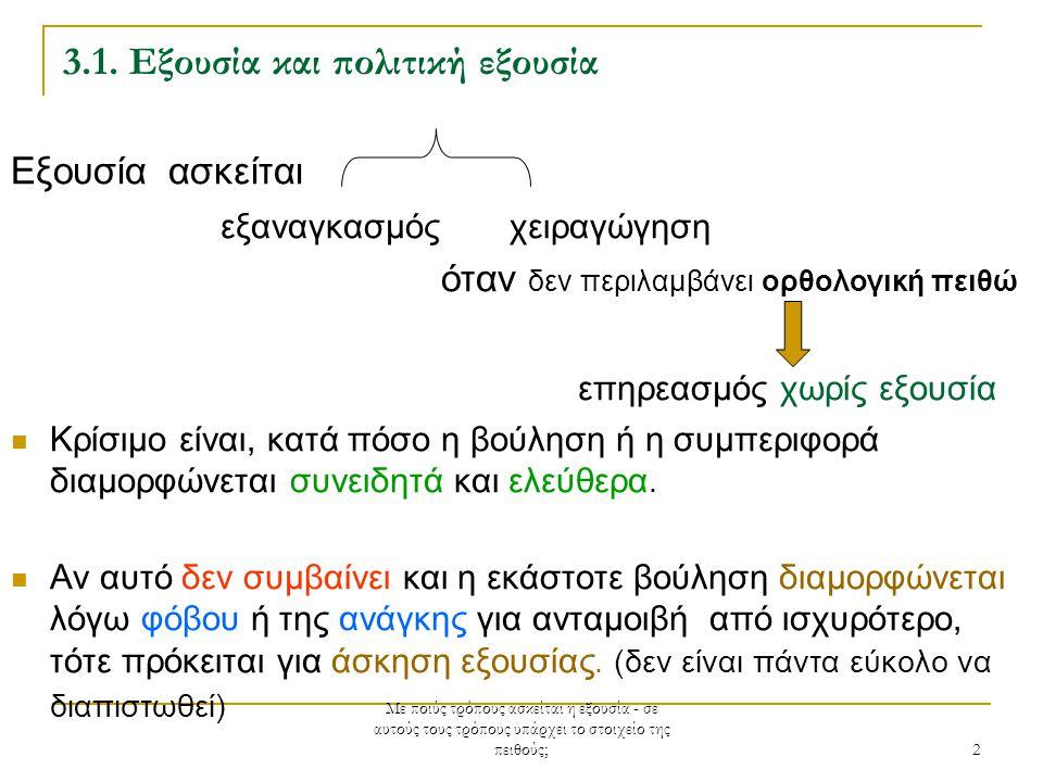 Με ποιύς τρόπους ασκείται η εξουσία - σε αυτούς τους τρόπους υπάρχει το στοιχείο της πειθούς; 2 3.1.