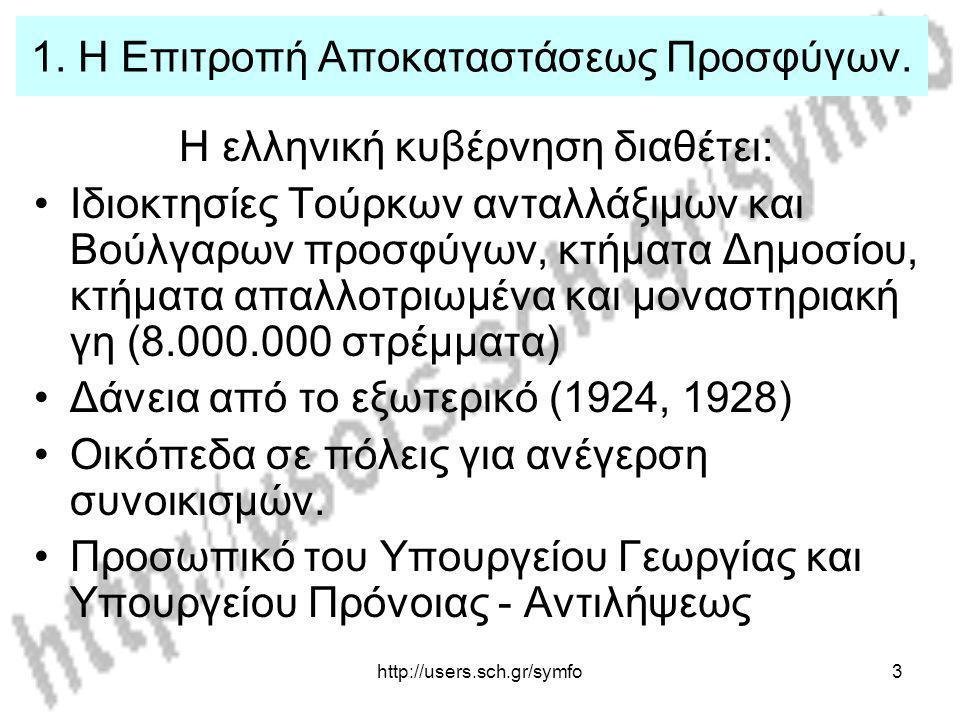 http://users.sch.gr/symfo3 1. Η Επιτροπή Αποκαταστάσεως Προσφύγων. Η ελληνική κυβέρνηση διαθέτει: Ιδιοκτησίες Τούρκων ανταλλάξιμων και Βούλγαρων προσφ