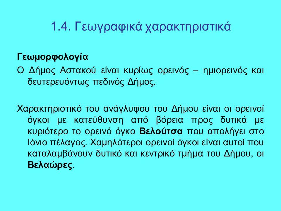 1.4. Γεωγραφικά χαρακτηριστικά Γεωμορφολογία Ο Δήμος Αστακού είναι κυρίως ορεινός – ημιορεινός και δευτερευόντως πεδινός Δήμος. Χαρακτηριστικό του ανά